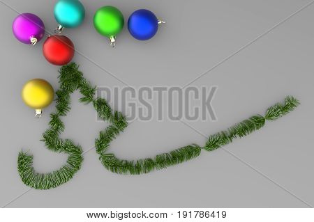 Green Christmas Tree With Colorful Balls