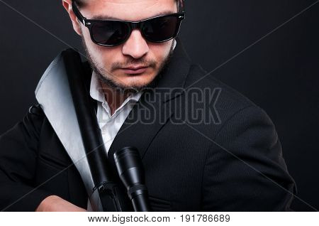 Mafia Gangster Man In Suit With Rifle
