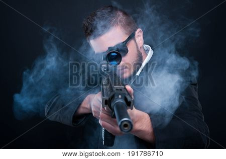 Mafia Criminal Aiming Weapon At You
