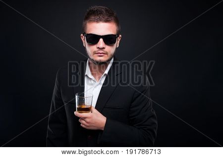 Handsome Exclusive Man Drinking Alcohol