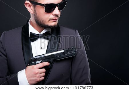 Handsome Mafia Member With Armed Revolver
