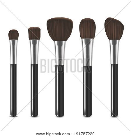 Realistic Detailed Cosmetic Brushes Set Beauty Makeup Elements Isolated On White Background. Vector illustration