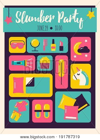 Modern poster for pajama party or sleepover.