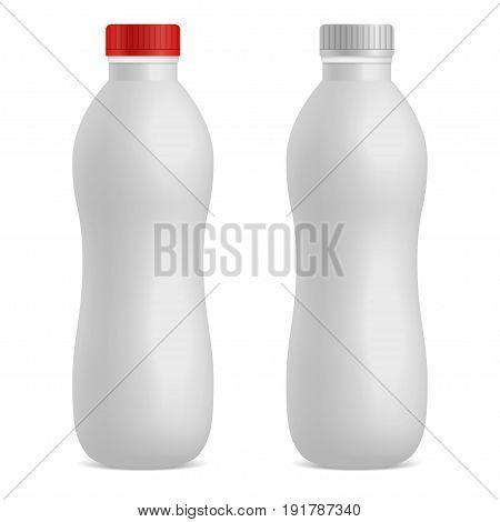 Realistic drinking yogurt, milk or kefir bottle 3D mock up. Empty white plastic surface. Isolated on white background. Applicable for branding, design presentation. Vector illustration. Eps 10