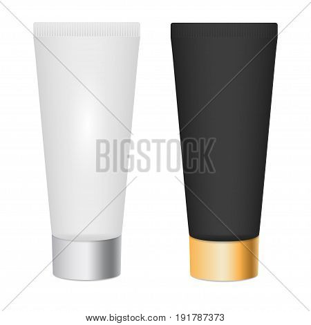 Realistic skin toner, cosmetic cream 3d mock up. White and black tubes with silver and gold cap. Make up tool. Isolated empty template for your branding and design presentation. Vector illustration.