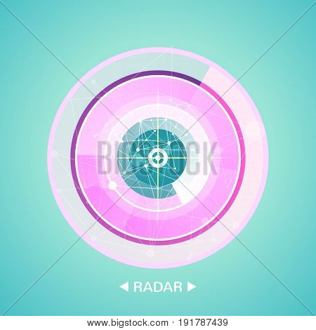 radar screen with targets in process , dynamic illustration . Conceptual design of military radar screen. Vector illustration