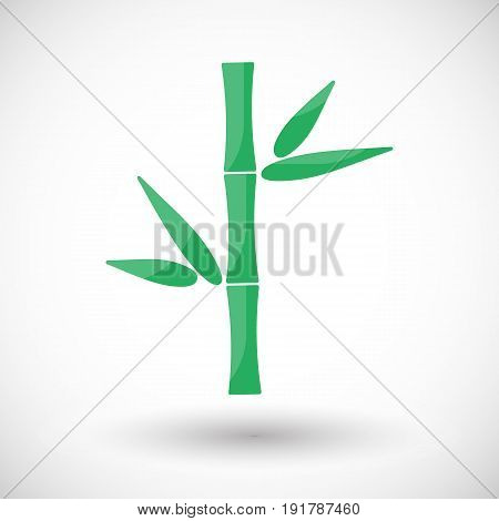 Bamboo flat vector icon Flat design of Asian culture symbol with round shadow cute isolated vector illustration