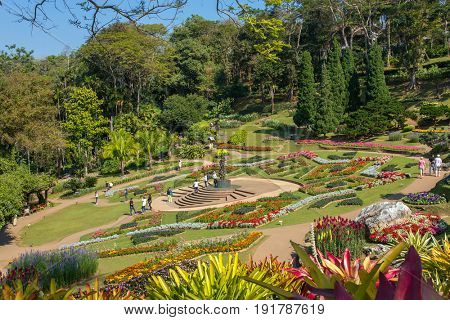 Doi Tung, Thailand - February 7, 2017: Mae Fah Luang Garden located on Doi Tung in Northern Thailand