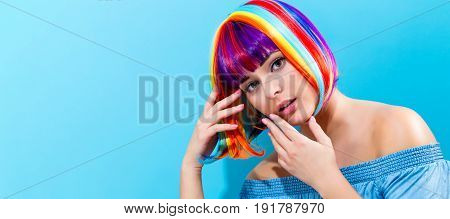 Beautiful Woman In A Colorful Wig
