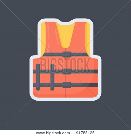Life jacket flat vector icon Flat design of swimming safety sticker isolated on the dark background vector illustration