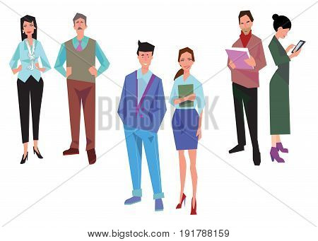 Couples of office workers employees managers and team leader. Business people in casual and office clothes. Isolated on white. Business Icons. Business design. Vector