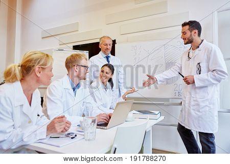 Doctors in medical training workshop at hospital
