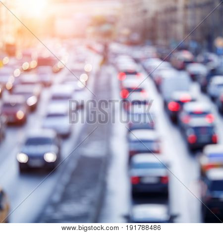 Blurred photo of city roads with cars