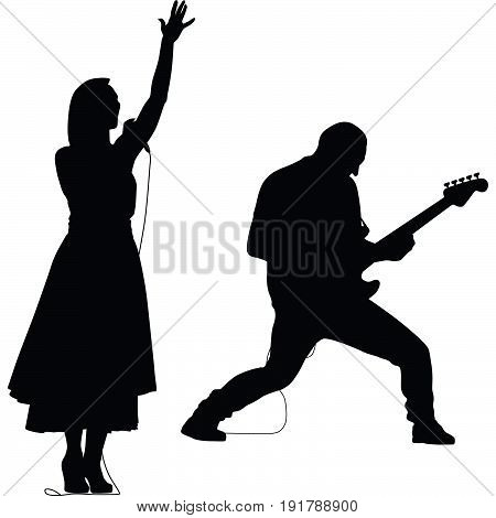 singer woman and guitarist man silhouette vector