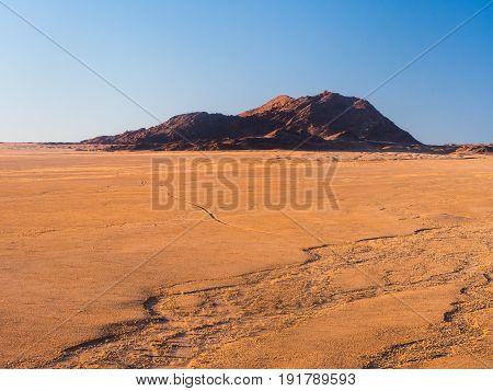 Landscape ion the Namib Desert n Namib-Naukluft National Park Namibia Africa at sunset.