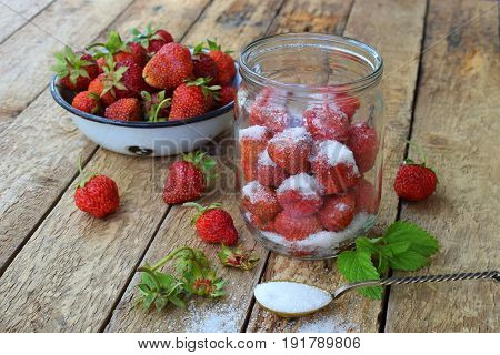 Cooking Preparation Of Compote Or Jam From Strawberry. Homemade Conservation With Organic Fresh Berr
