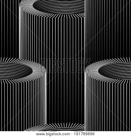 Vector tube op art pattern. Optical illusion abstract background.