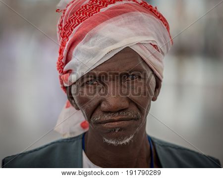 MECCA, SAUDI ARABIA, September 2016 - Muslim pilgrim from Africa came to perform Hajj at the Holy Mosque in Medina, Saudi Arabia, days of Hajj