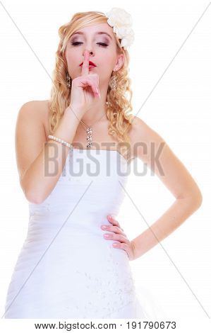 Bride In White Wedding Dress Showing Silence Sign