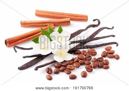 Vanilla sticks and cinnamon with coffee beans and flower isolated on white background.