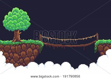 Pixel art game background two islands  in clouds, bushy tree and rope bridge