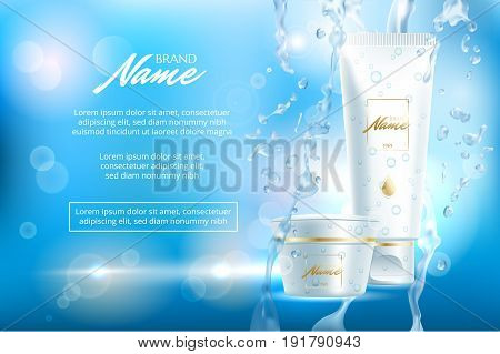 Advertising poster for cosmetic product for catalog, magazine. Vector design of cosmetic patskage. Moisturizing cream, gel, body lotion with vitamins. Vector illustration with isolated objects