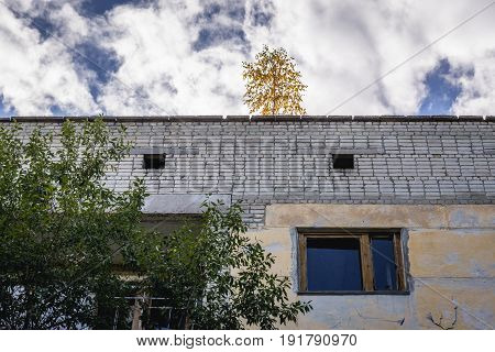 Building in abandoned military town called Chernobyl-2 in Chernobyl Exclusion Zone Ukraine