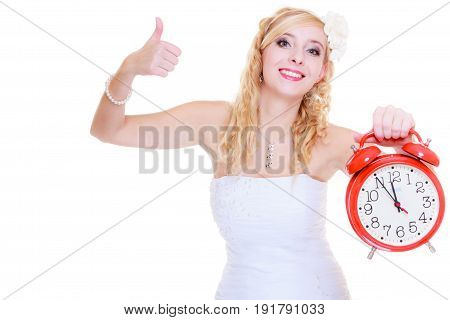 Woman Bride Holding Big Red Clock