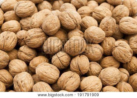 Walnuts closeup of the bag at the village market