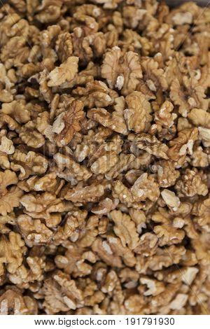 Shelled walnuts closeup of the bag at the village market