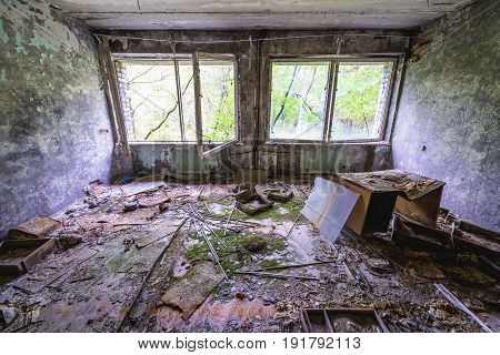 Interior of abandoned Pripyat city in Chernobyl Exclusion Zone Ukraine