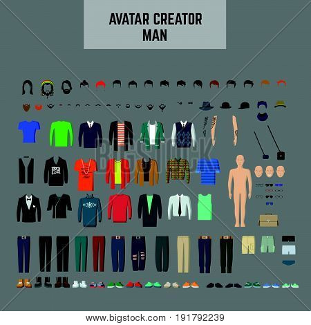 Male Avatar creator man. maker Male avatar