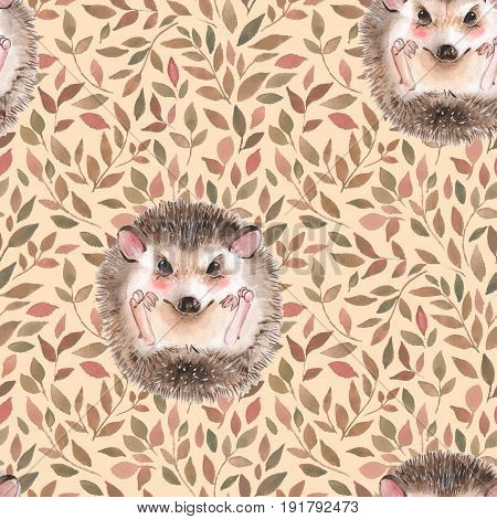Hedgehog and leaves. Seamless floral pattern. Watercolor illustration