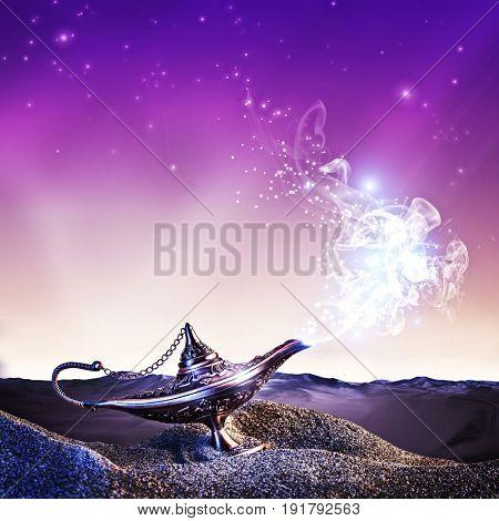 magic aladdin lamp in the desert at night time