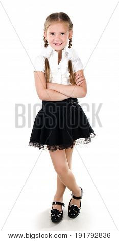 Portrait of happy smiling school girl child isolated on a white background education concept