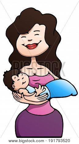 illustration of a mother hold baby on isolated white background
