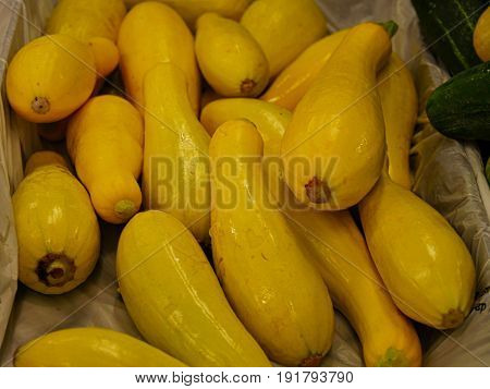Yellow cucumbers in a box Yellow cucumbers arranged in a box lined with plastic