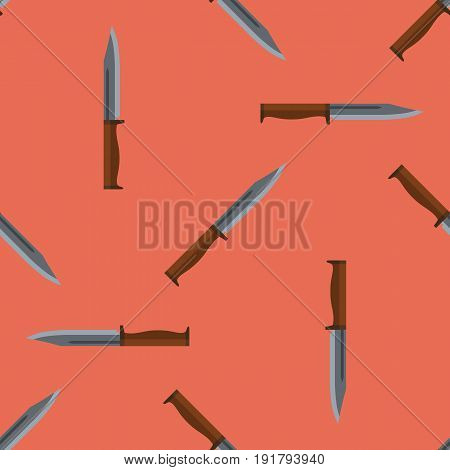 Hunting knife seamless repeating tiled background. Vector