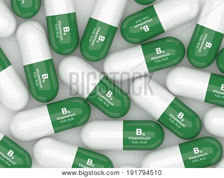 3D Render Of B9 Folic Acid Pills Over White