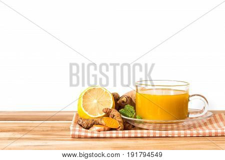 a cup of Turmeric Tea Benefits for reduce Inflammation Liver Detox and Cleanser healthy herb drink concept