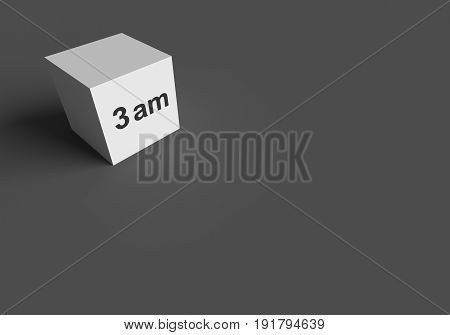 3D RENDERING WORDS 3 am ON WHITE CUBE, STOCK PHOTO