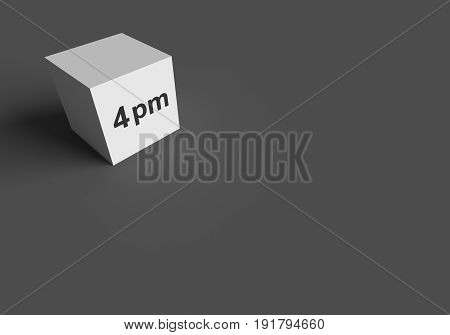 3D RENDERING WORDS 4 pm ON WHITE CUBE, STOCK PHOTO