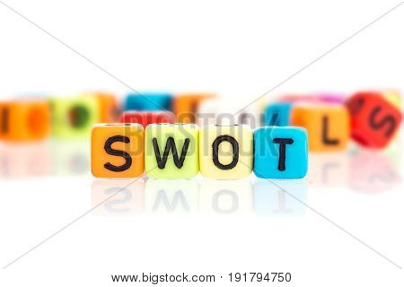 colorful word cube of SWOT business analysis for Strengths Weaknesses Opportunities Threats concept on a white background