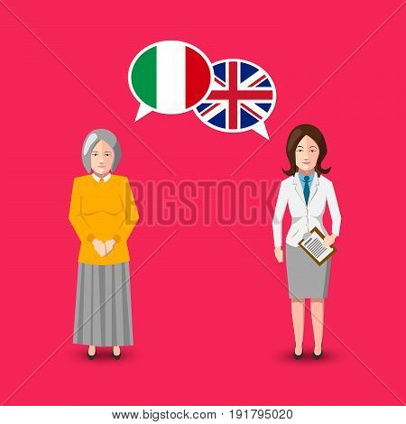 Two people with white speech bubbles with Great britain and Italy flags. Language study conceptual illustration