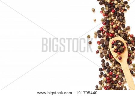 Close up mixed type of peppercorns on white background top view or overhead shot