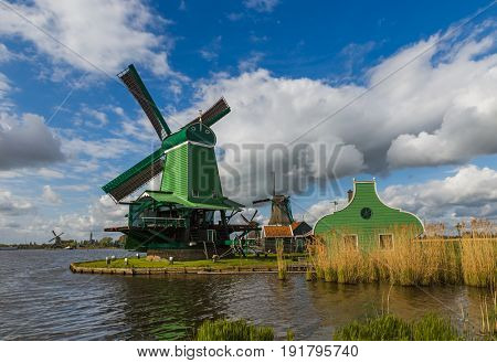 Windmills in Zaanse Schans - Netherlands - architecture background