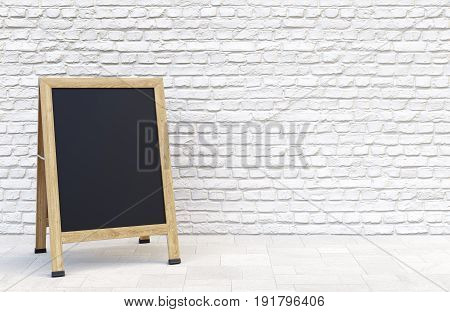 Wooden street sidewalk sign with blank menu chalk blackboard over white brick wall. 3D illustration