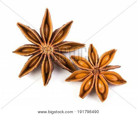 Close up the star anise spice isolated on white background overhead and top view