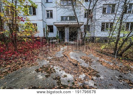 House of flats in Pripyat ghost town Chernobyl Exclusion Zone Ukraine