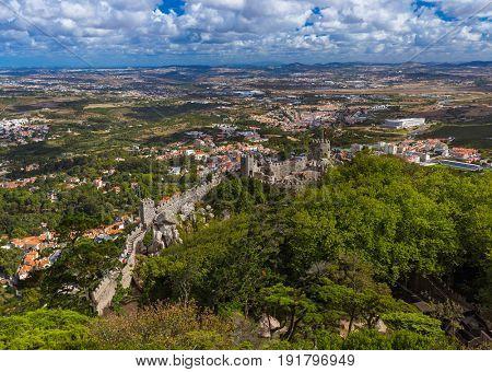 Moorish castle in Sintra - Portugal - architecture background